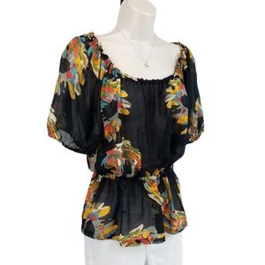 French Connection top floral black yellow (4-6)